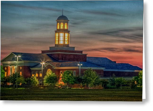 Christopher Newport University Trible Library At Sunset Greeting Card