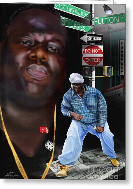 Christopher Wallace Way - Biggie Greeting Card by Reggie Duffie