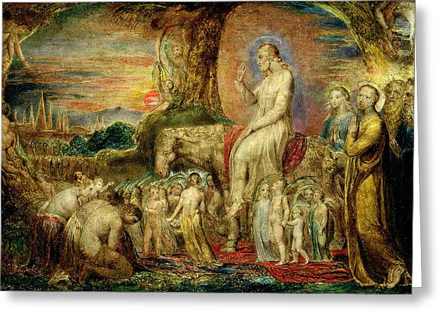 Christs Entry Into Jerusalem Greeting Card by William Blake
