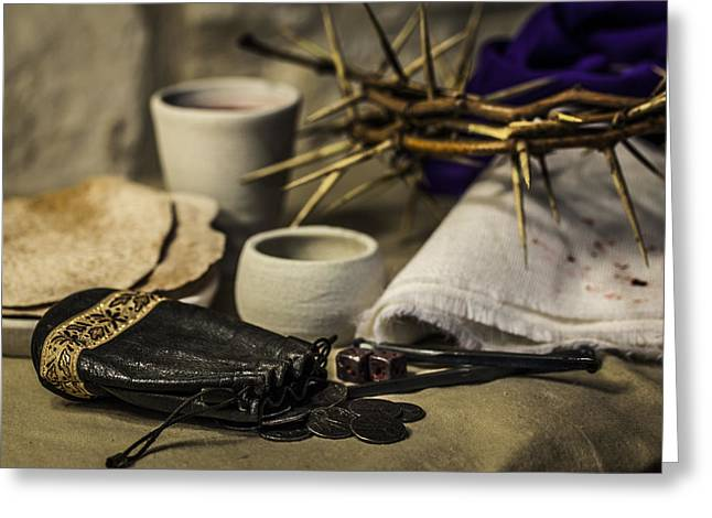 Christ's Final Supper And What It Cost Greeting Card by Amber Kresge