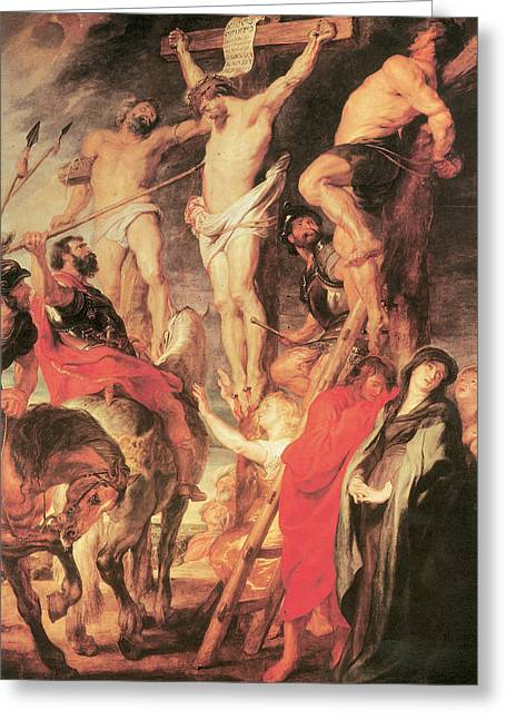 Christ's Side Pierced With A Lance Greeting Card by Peter Paul Rubens