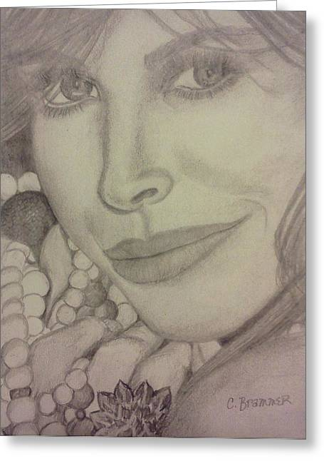 Greeting Card featuring the drawing Christy Turlington by Christy Saunders Church