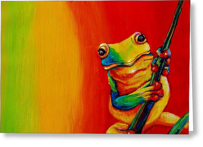 Chroma Frog Greeting Card by Jean Cormier