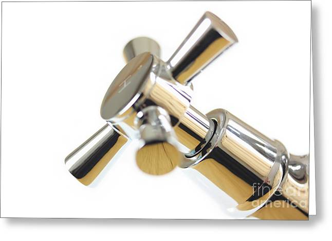 Chrome Tap Abstract  Greeting Card by Simon Bratt Photography LRPS