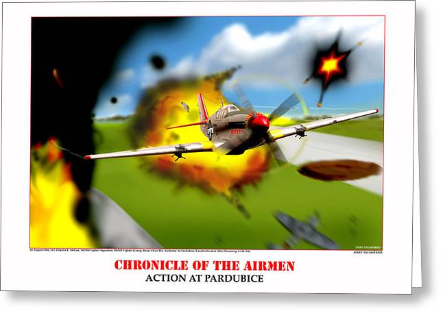 Chronicles Of The Airmen Action At Pardubice Greeting Card by Jerry Taliaferro