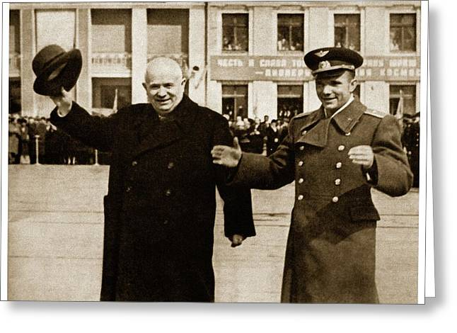 Chrushtchev And Gagagrin Greeting Card
