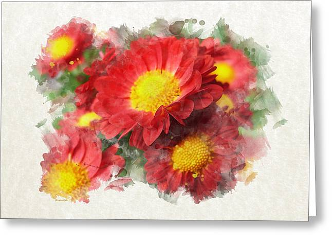 Chrysanthemum Watercolor Art Greeting Card by Christina Rollo