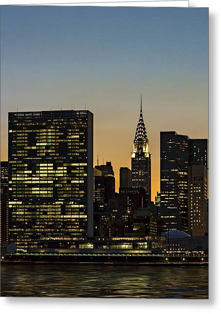 Chrysler And Un Buildings Sunset Greeting Card