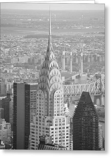 Chrysler Building Black And White Greeting Card by Robert  Moss