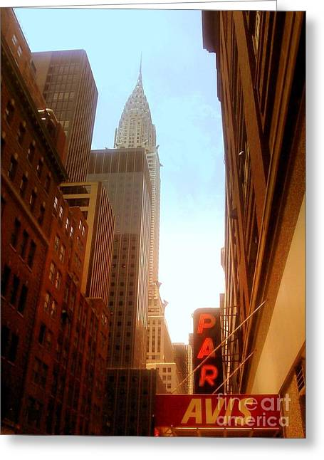 Chrysler Building Rises Above New York City Canyons Greeting Card by Miriam Danar