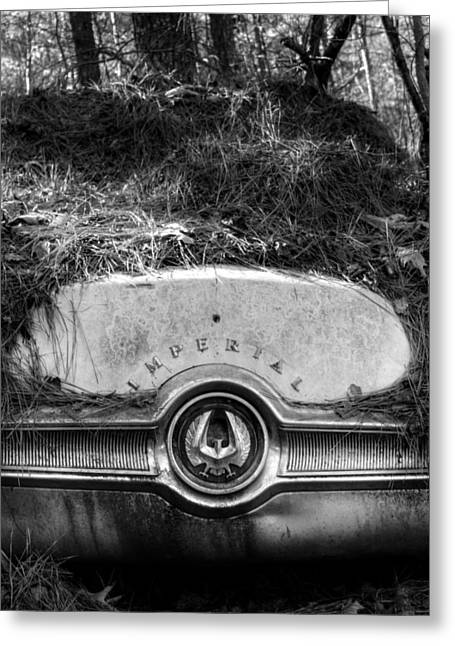 Chrysler Imperial In Black And White Greeting Card by Greg Mimbs
