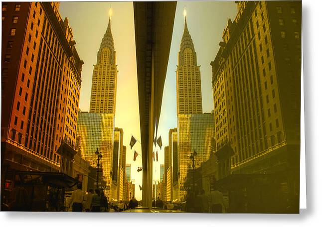 Chrysler Reflection On 42nd Street Greeting Card
