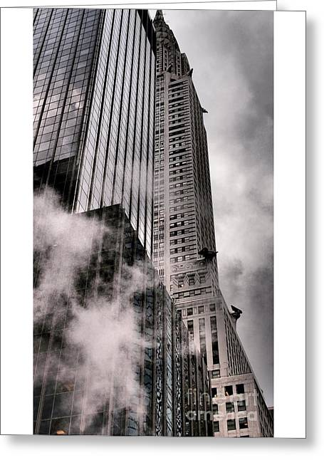 Chrysler Building With Gargoyles And Steam Greeting Card