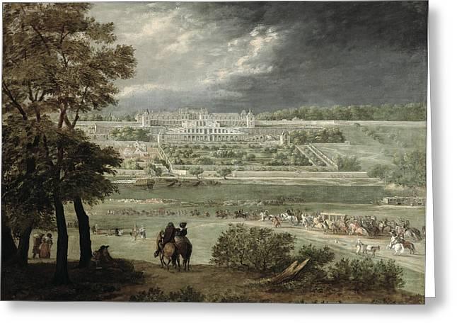 Château Of St. Germain-en-laye In 1655 Oil On Canvas Greeting Card by Adam Frans van der Meulen
