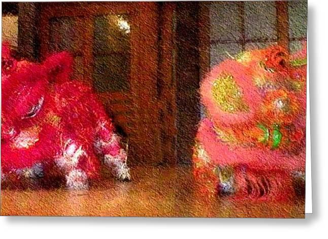 Chua Truc Lam Two Dragons - Fine Brush Greeting Card by Shawn Lyte