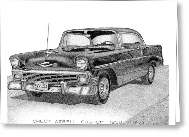 Chuck Azbell Custom 1956 Chevy Greeting Card by Arthur Eggers
