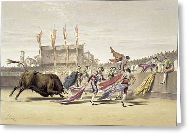 Chulos Playing The Bull, 1865 Greeting Card by William Henry Lake Price