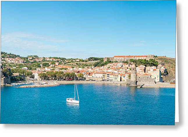 Church And Castle In A Town, Chateau Greeting Card by Panoramic Images