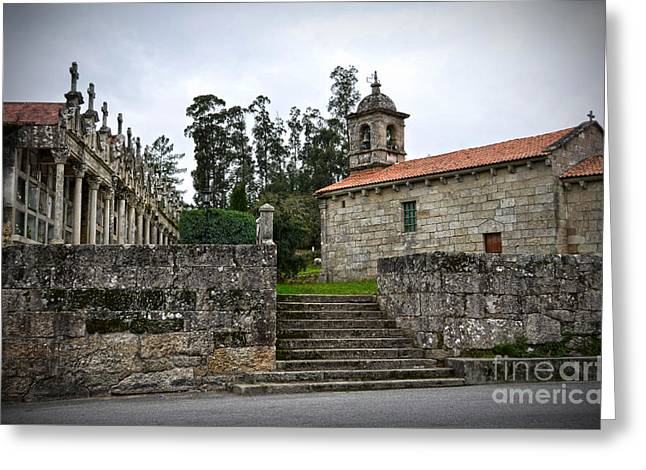 Church And Cemetery In A Small Village In Galicia Greeting Card