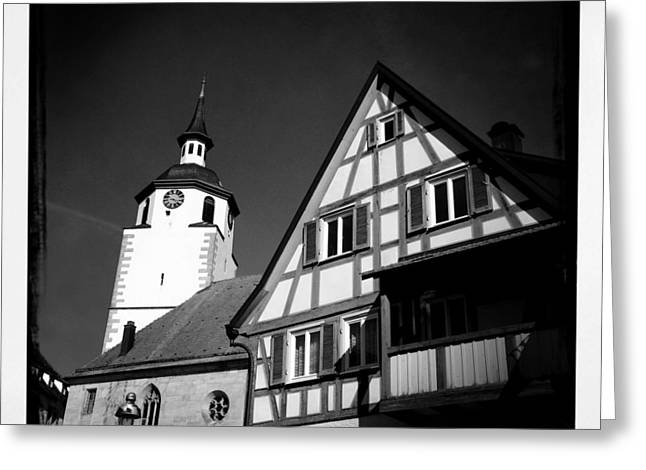 Church And Half-timbered House In Lovely Old Town Greeting Card