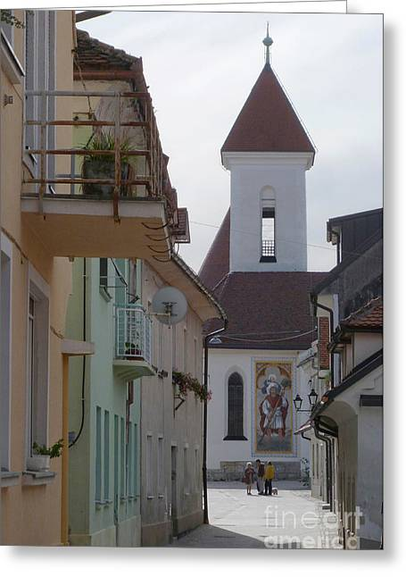 Church And Houses - Kranj - Slovenia Greeting Card by Phil Banks