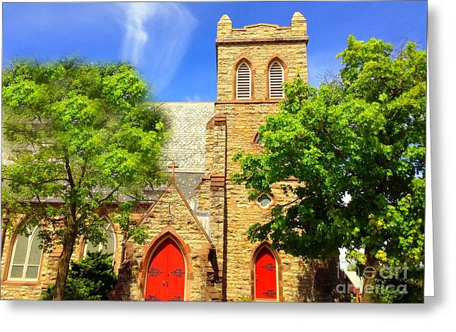 Greeting Card featuring the photograph Church And Red Doors by Becky Lupe