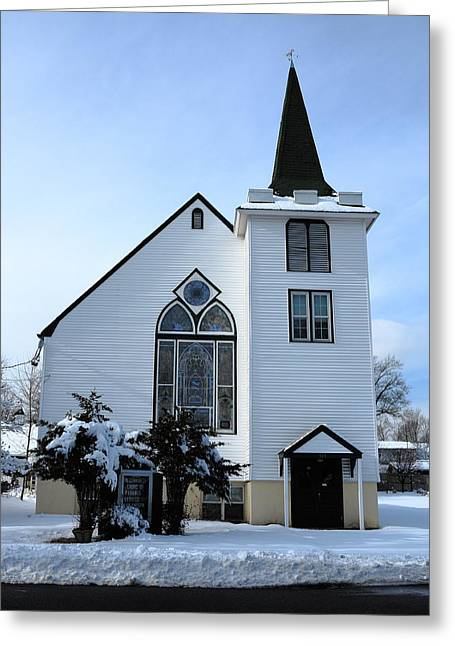 Paramus Nj - Church And Steeplechurch And Steeple Greeting Card by Frank Romeo