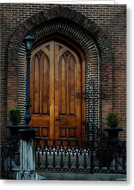 Church Arch And Wooden Door Architecture Greeting Card
