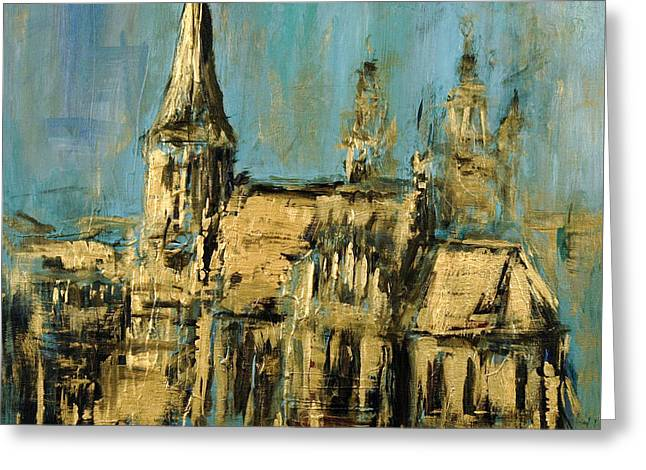 Greeting Card featuring the painting Church by Arturas Slapsys