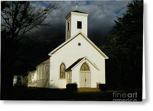 Church At Dusk Greeting Card