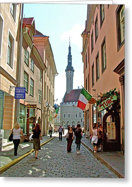 Church At End Of Street In Old Town Tallinn-estonia Greeting Card by Ruth Hager