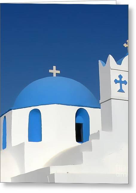 Church At Myconos Greeting Card by A K Dayton