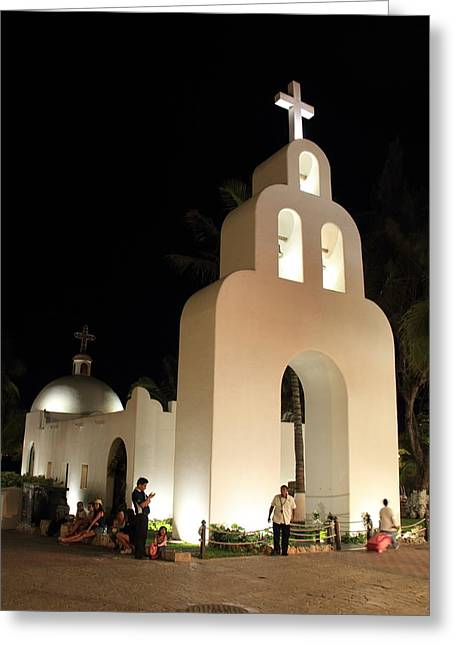 Church At Night In Playa Del Carmen Greeting Card