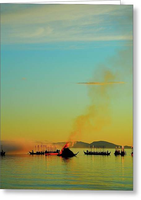 Church Boats On The Lake Siljan Greeting Card by Anders Ludvigson