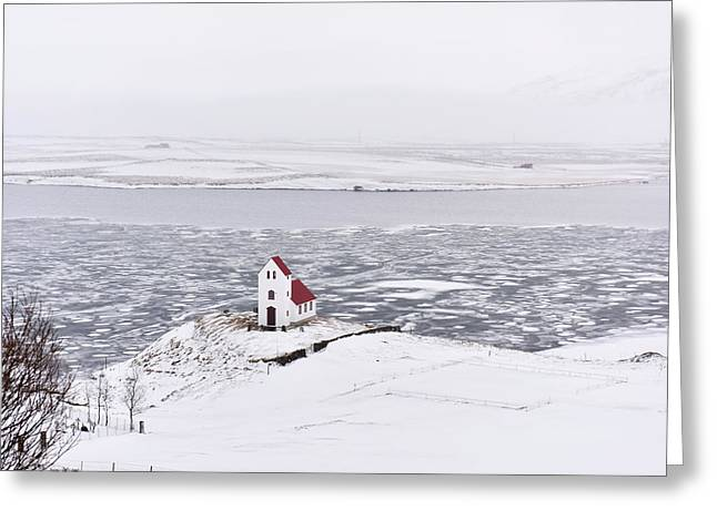 Church By A Frozen Lake Greeting Card by Dr P. Marazzi