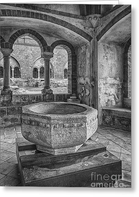 Church Christening Font Greeting Card by Antony McAulay