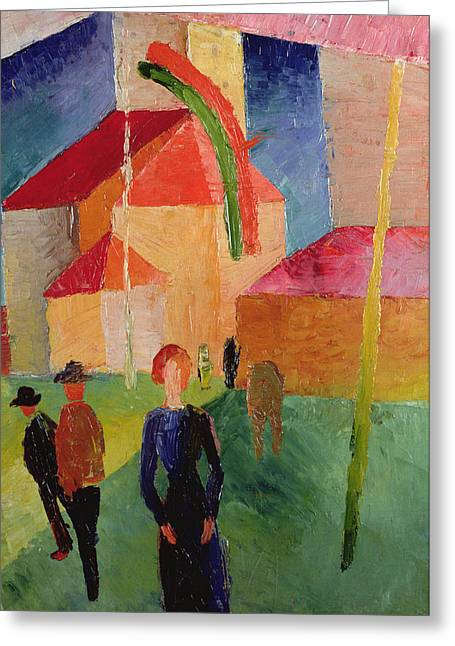 Church Decorated With Flags Greeting Card by August Macke