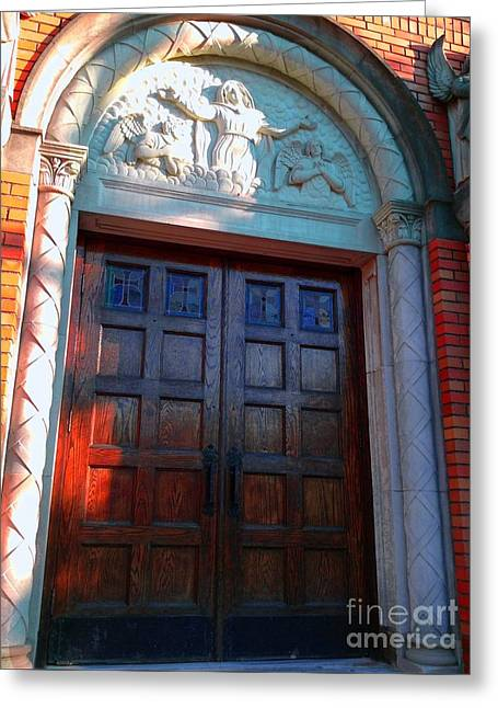 Greeting Card featuring the photograph Church Door 1 by Becky Lupe