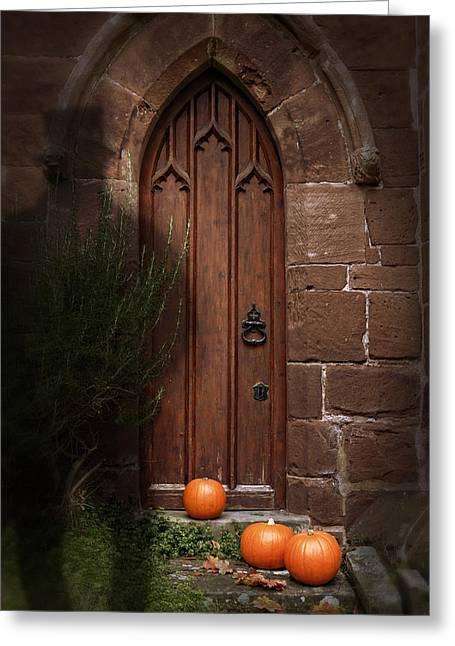 Church Door At Halloween Greeting Card by Amanda Elwell