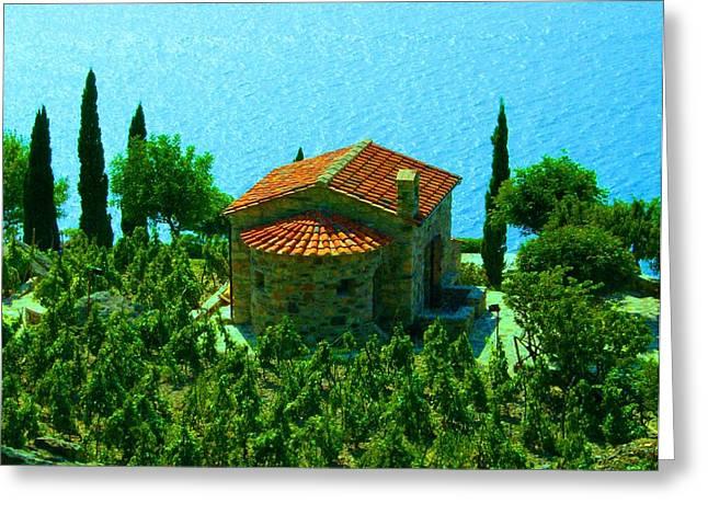 Enchanted Church Between Sea And Nature Greeting Card
