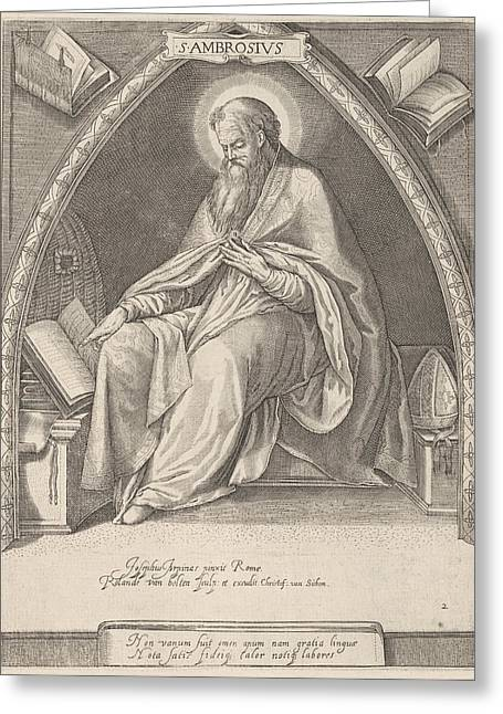 Church Father Ambrosius, Roeland Van Bolten Greeting Card by Roeland Van Bolten And Jacob Matham And Christoffel Van Sichem
