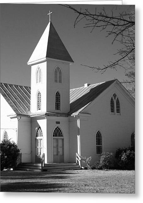 Church In Black And White Greeting Card by Carolyn Ricks