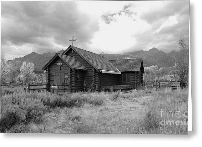 Church In Black And White Greeting Card by Kathleen Struckle