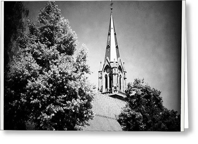 Church In Black And White Greeting Card by Matthias Hauser