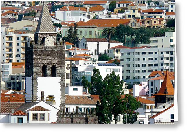 Church In Funchal Greeting Card by Tracy Winter