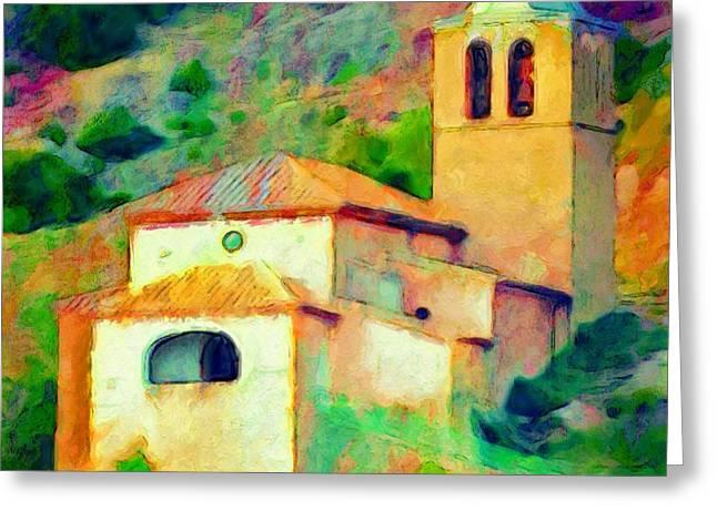 Church In Riglos Spain - Square Greeting Card