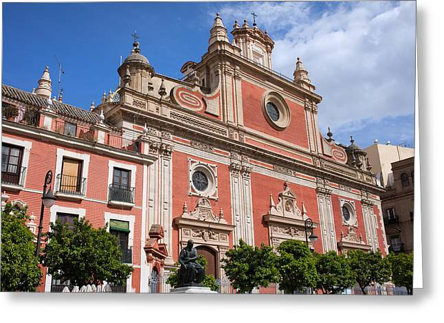 Church Of El Salvador In Seville Greeting Card by Artur Bogacki