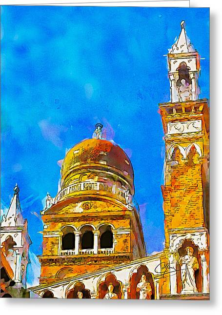 Greeting Card featuring the painting Church Of Madonna Dell'orto by Greg Collins