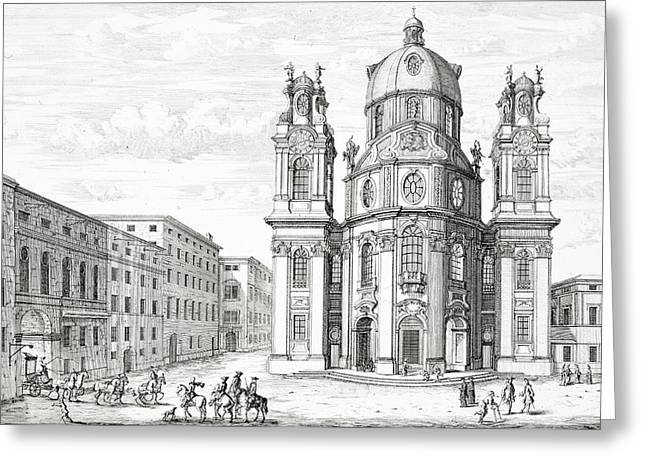 Church Of Notre Dame, Salzburg Greeting Card by Johann Bernhard Fischer von Erlach