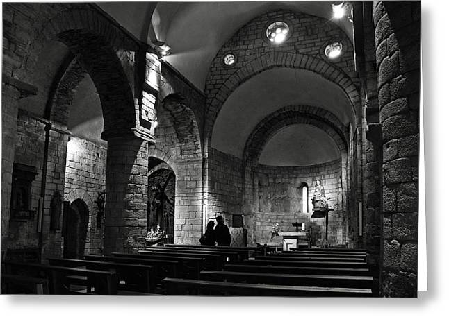Church Of The Assumption Of Mary In Bossos - Bw Greeting Card